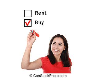 verdadero, concepto, opción, propiedad, casa, mujer, alquiler, escoger, nuevo, comprar, latín, o