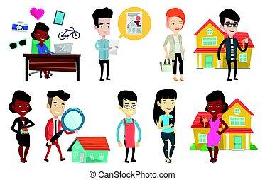 verdadero, conjunto, owners., propiedad, casa, vector, agentes