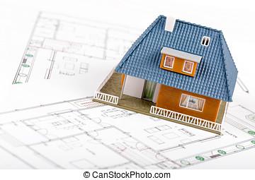 verdadero, desarrollo, planos, escala, propiedad, casa, -, modelo
