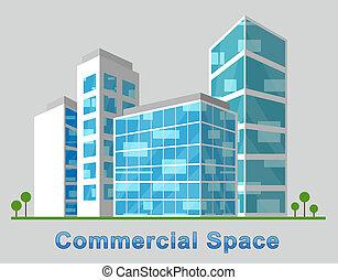 verdadero, describir, propiedad, espacio, comercial, ilustración, céntrico, 3d