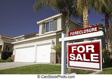 verdadero, ejecución hipoteca, propiedad, casa, muestra de...