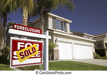 verdadero, ejecución hipoteca, propiedad, casa, muestra de ...