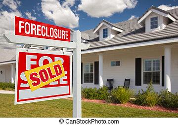 verdadero, ejecución hipoteca, propiedad, casa, vendido, -, señal, izquierda