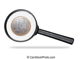 verdadero, encima, vidrio, debajo, blanco, aumentar, euro