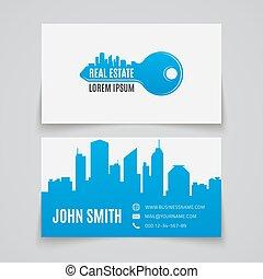 verdadero, estate., tarjeta comercial, template.