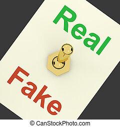 verdadero, genuino, actuación, artículo, interruptor, falsificación