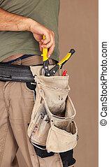 verdadero, herramienta, trabajador, usos, moment., cinturón,...