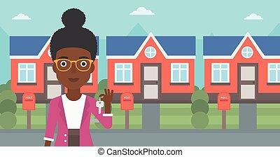 verdadero, illustration., agente inmobiliario, vector, llave
