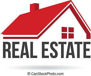 verdadero, image., propiedad, casa, vector, rojo, icono