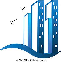 verdadero, logotipo, edificios, moderno, propiedad