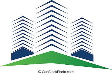 verdadero, logotipo, edificios, propiedad