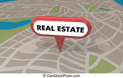 verdadero, mapa, propiedad, alfiler, casa, venta, ilustración, hogar, 3d
