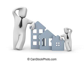 verdadero, mirar, clients., agencia, propiedad