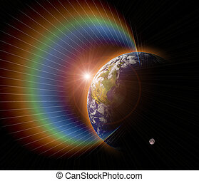 verdadero, planeta azul, tierra, sol