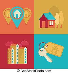 verdadero, plano, estilo, propiedad, iconos