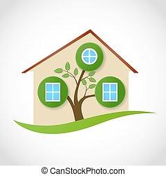 verdadero, propiedad, casa, símbolo,  Windows, árbol, Ilustración, ecológico,  vector,  conceptual, hojas