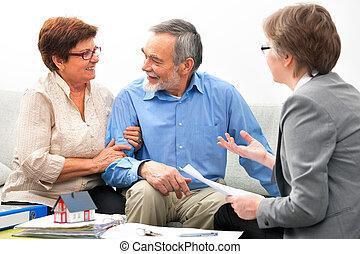 verdadero, reunión, agente inmobiliario
