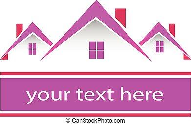 verdadero, rosa, casas, propiedad, logotipo