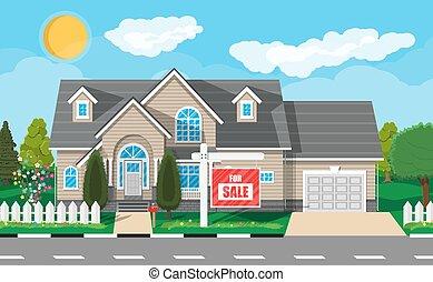 verdadero, suburbano, house., privado, propiedad