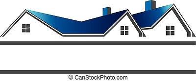 verdadero, techos, logotipo, propiedad, casas