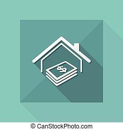 verdadero, tela, coste, propiedad, -, vector, hogar, icono