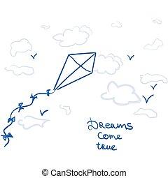 verdadero, venga, cometa, sueños, caricatura