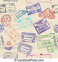 verdadero, visa, seamless, textura, stamps.