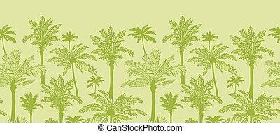 verde, árboles de palma, horizontal, seamless, patrón, plano de fondo, frontera