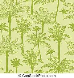 verde, árboles de palma, seamless, patrón, plano de fondo
