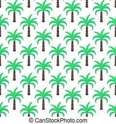 verde, árboles de palma, seamless, vector, pattern.