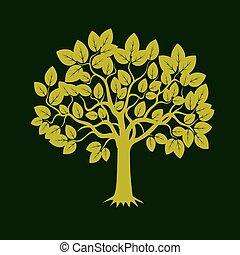 verde, árboles., vector, illustration.