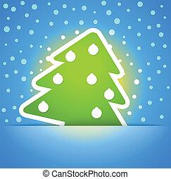verde, árvore natal, com, baubles., natal, cartão cumprimento