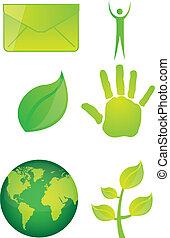 verde, ícones