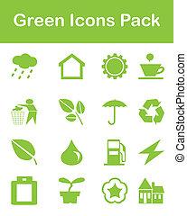 verde, ícones, pacote