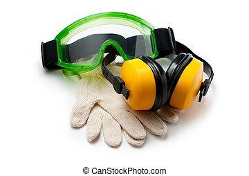 verde, óculos proteção, luvas, fones ouvido