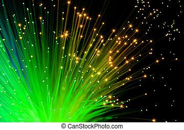 verde, óptico, fibras