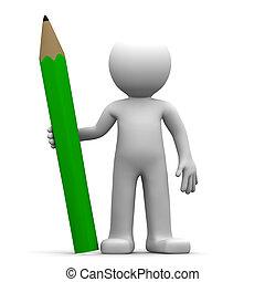 verde, 3d, personagem, lápis