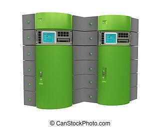 verde, 3d, servidor