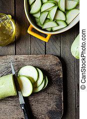 verde, abobrinha, em, a, preparação, de, alimento