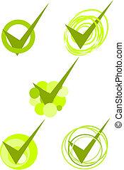 verde, aceitado, símbolos, -, vetorial