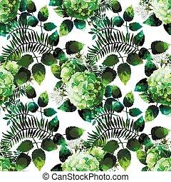 verde, acuarela, hydrangea, patrón