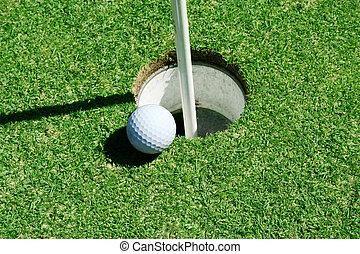verde, agujero, pelota, golf