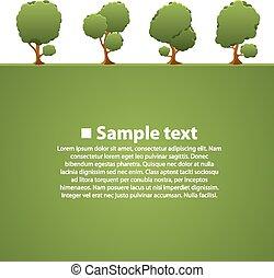 verde, aislado, árboles