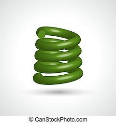 verde, aislado, espiral