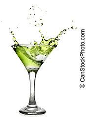 verde, alcool, cocktail, con, schizzo, isolato, bianco