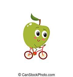 verde, allegro, sorridente, mela, andando bicicletta bicicletta