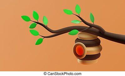 verde, alveare, leaves., illustration., 3d, vettore, ramo, appendere