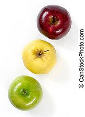 verde, amarela, maçãs vermelhas