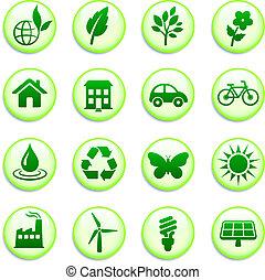 verde, ambiental, botones