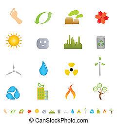 verde, ambiente, iconos